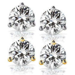 Kobelli Near-Colorless (F-G) 3 CTW Round Moissanite Stud Earrings in 14K Gold (7.5mm)