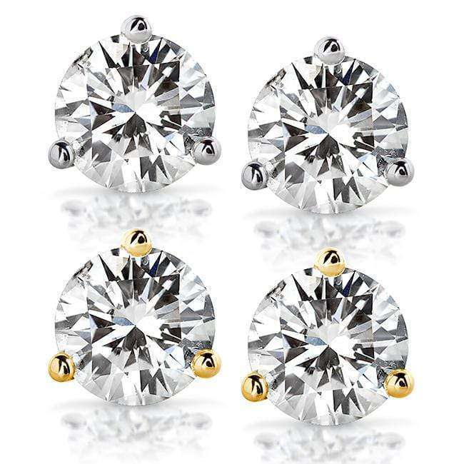 Discounts Forever One DEF 2 CTW Round Moissanite Stud Earrings in 14K White or Yellow Gold (6.5mm) - yellow-gold