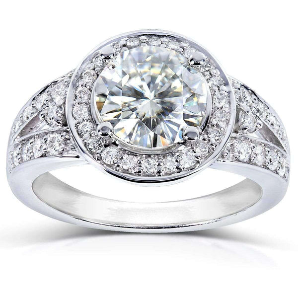 Kobelli Round Moissanite Engagement Ring with Halo Diamond 1 7/8 CTW 14k Gold MZ61737-E_4.5_WG