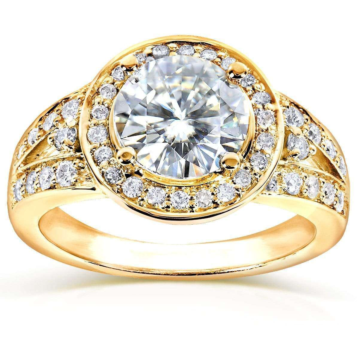 Discounts Round Moissanite Engagement Ring with Halo Diamond 1 7/8 CTW 14k Gold - yellow-gold 10.5