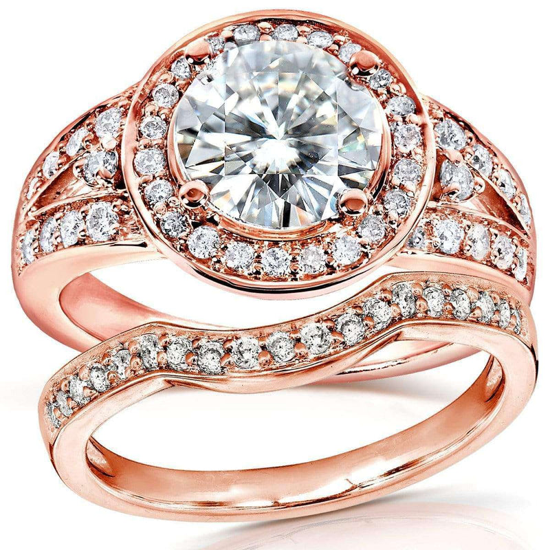 Kobelli Moissanite and Diamond Halo Low-Set Center Bridal Set 2 Carats TW in 14k Rose Gold