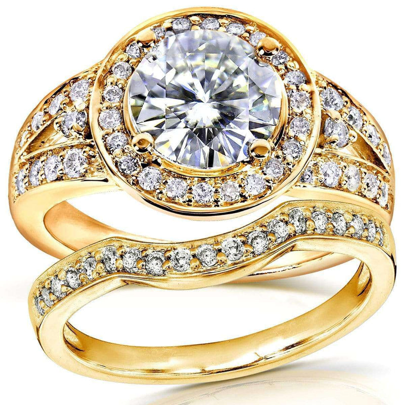 Kobelli Moissanite and Diamond Halo Low-Set Center Bridal Set 2 Carats TW in 14k Yellow Gold