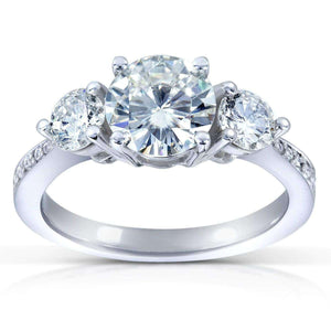 Kobelli Round-Cut Moissanite and Diamond Three-Stone Engagement Ring 1 1/2 CTW 14k White Gold (6.5mm)