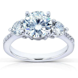 Kobelli Round-cut Moissanite and Diamond Three Stone Engagement Ring 2 CTW 14k White Gold (7.5mm)