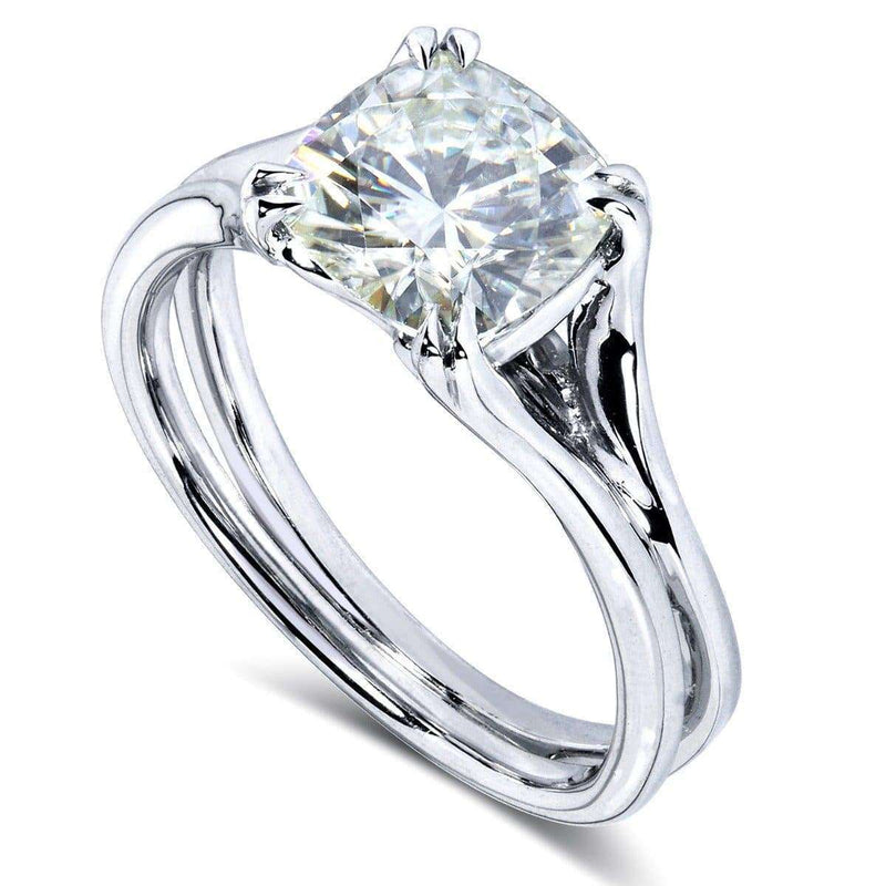 Kobelli Cushion-Cut Moissanite Solitaire Split Shank Ring 2 CTW 14k White Gold