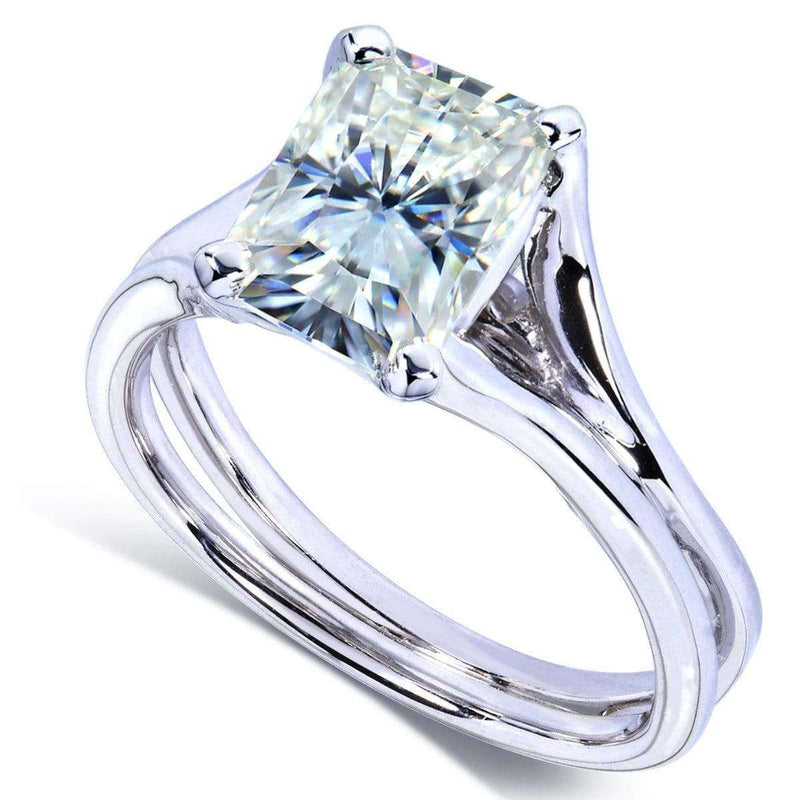 Kobelli Radiant-Cut Moissanite Solitaire Split Shank Ring 1 1/5 CTW 14k White Gold