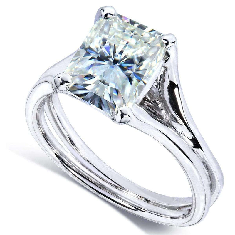 Kobelli Radiant-Cut Moissanite Solitaire Split Shank Ring 1 4/5 CTW 14k White Gold