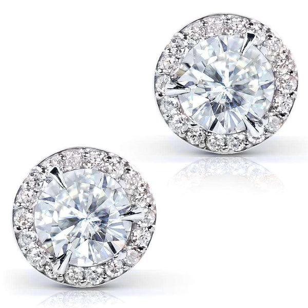 Kobelli Round Moissanite and Diamond Stud Earrings 2 1/4 CTW 14k Gold MZ61750/W