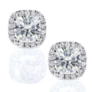Kobelli Cushion Moissanite and Diamond Halo Stud Earrings 2 1/2 CTW 14k White Gold MZ61752