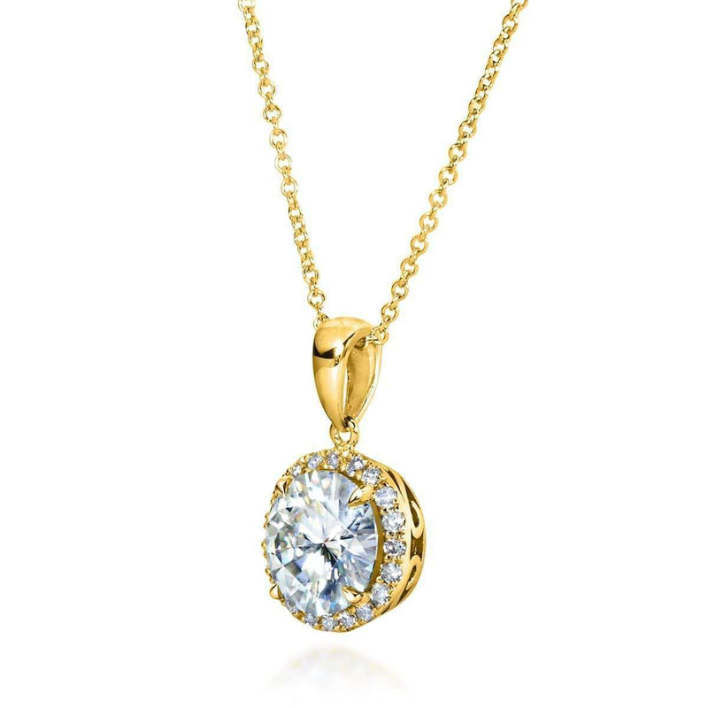 Kobelli Round Moissanite and Diamond Necklace 2 1/6 CTW 14k Gold