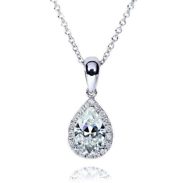 Kobelli Pear-Shape Moissanite (8mm x 5mm) & Diamond Necklace in 14K Gold MZ61759/W