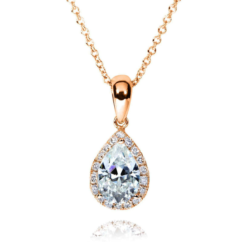Kobelli Pear-Shape Moissanite (8mm x 5mm) & Diamond Necklace in 14K Gold MZ61759/R