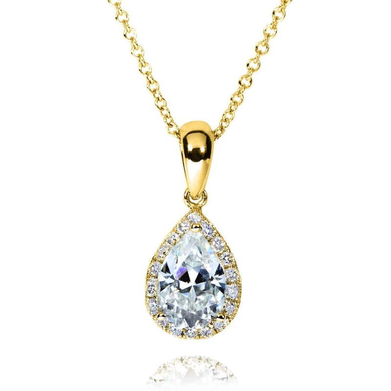 Kobelli Pear-Shape Moissanite (8mm x 5mm) & Diamond Necklace in 14K Gold MZ61759/Y