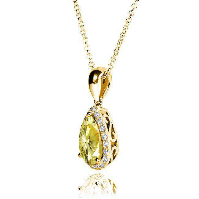 Yellow Moissanite and Diamond Pear Shape Pendant 1 1/8 CTW 14k Gold