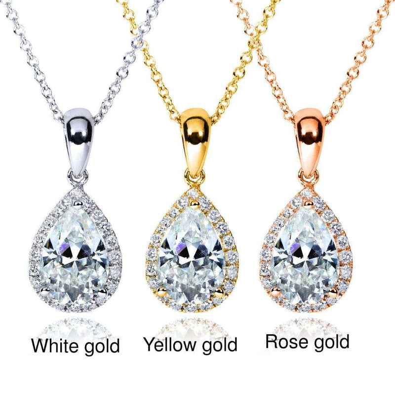 Kobelli Pear-Shape Moissanite (9mm x 6mm) & Diamond Necklace 14K Gold