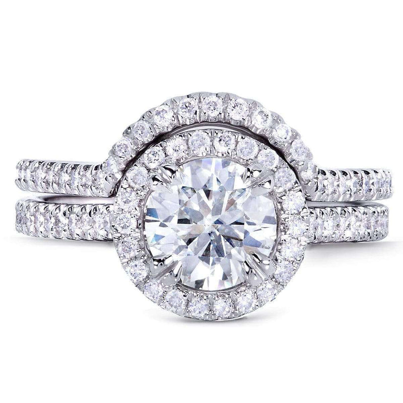 Kobelli Round-cut Moissanite Bridal Set with Diamond 1 1/2 CTW 14k White Gold