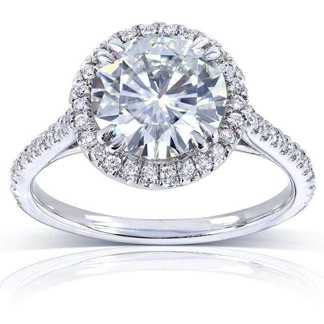 Kobelli Round-cut Moissanite Engagement Ring with Diamond 2 CTW 14k White Gold (8.0mm)