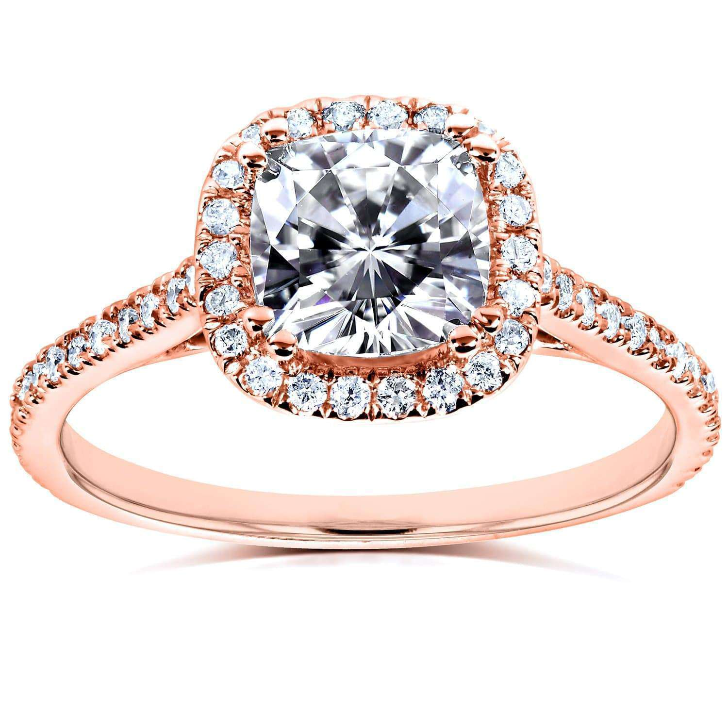 Compare Near-Colorless (F-G) Cushion Moissanite & Diamond Engagement Ring 1 1/3 CTW in 14k Rose Gold - 6.5