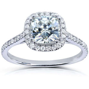 Forever One (D-F) Moissanite Engagement Ring with Diamond 1 1/3 CTW in Platinum