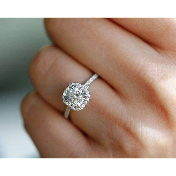 Cushion-cut Moissanite Engagement Ring with Diamond 1 1/3 CTW 14k Gold