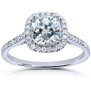 Kobelli Cushion Moissanite Engagement Ring with Diamond 1 1/3 CTW Platinum