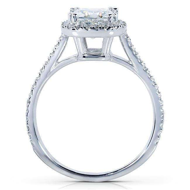 Kobelli Near-Colorless (F-G) Moissanite Engagement Ring with Diamond 1 1/3 CTW 14k White Gold