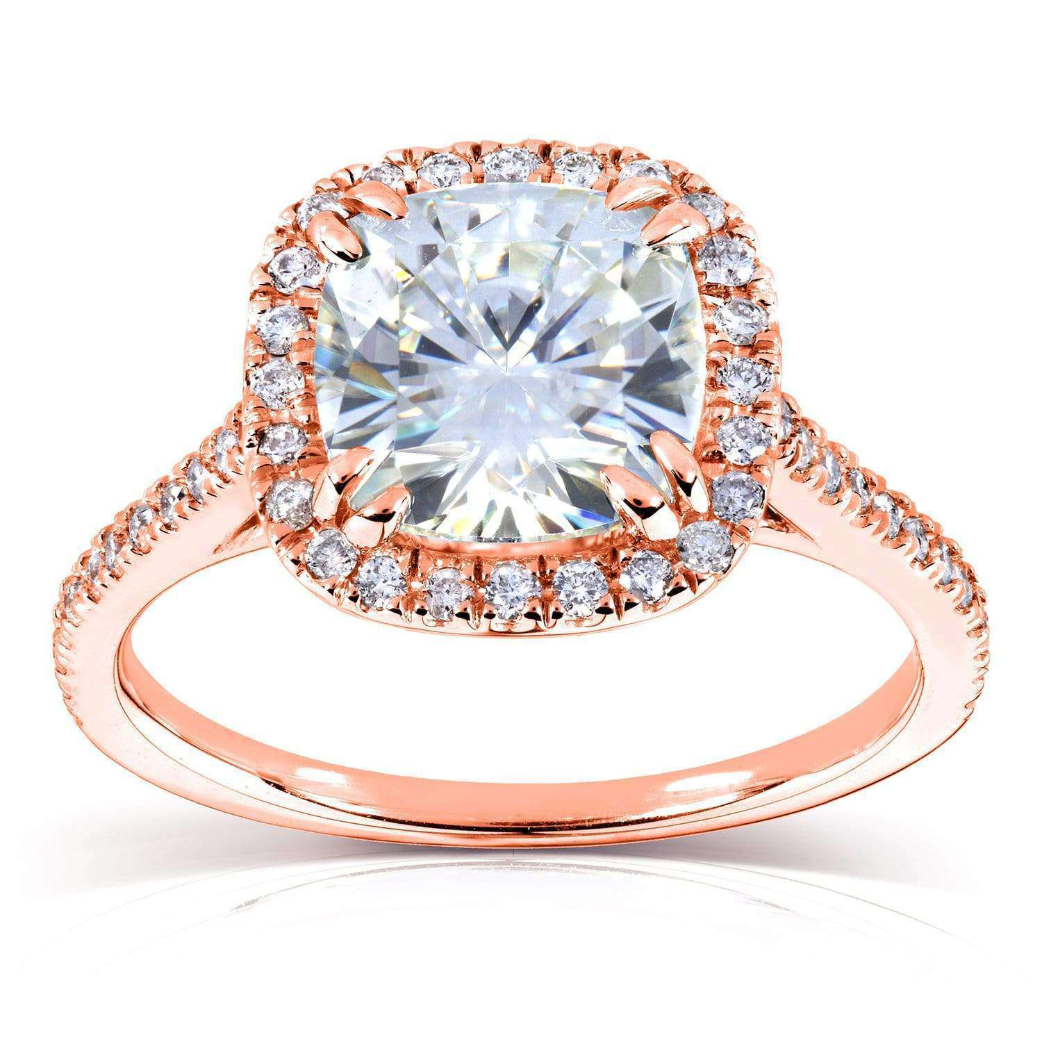 Coupons Cushion Moissanite and Diamond Halo Cathedral Engagement Ring 2 1/4 CTW 14k Rose Gold (7.5 mm) - 9.5