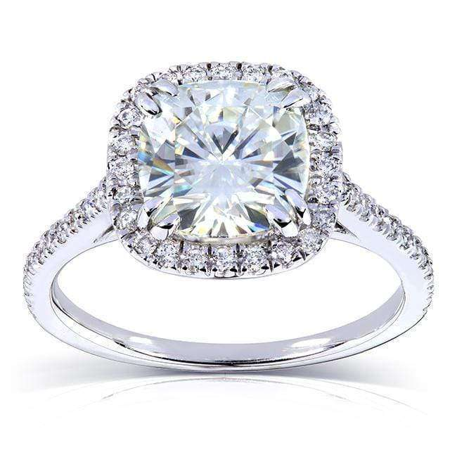 Kobelli 7.5mm Cushion D-E-F Moissanite Cathedral Halo Ring 14k White Gold (2 1/4 CTW)