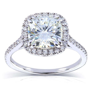 7.5mm Cushion Moissanite D-E-F Cathedral Halo Ring Platinum (2 1/4 CTW)