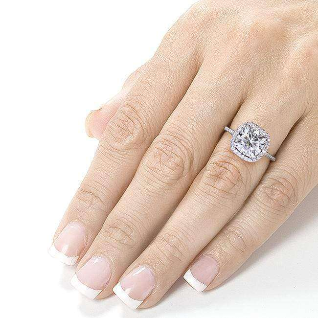 Kobelli 7.5mm Cushion Moissanite Cathedral Halo Ring 14k White Gold (2 1/4 CTW)