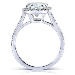 7.5mm Cushion Moissanite F-G Cathedral Halo Ring Platinum (2 1/4 CTW)