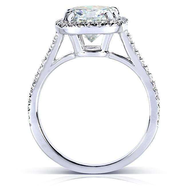Kobelli 7.5mm Cushion Moissanite F-G Cathedral Halo Ring Platinum (2 1/4 CTW)