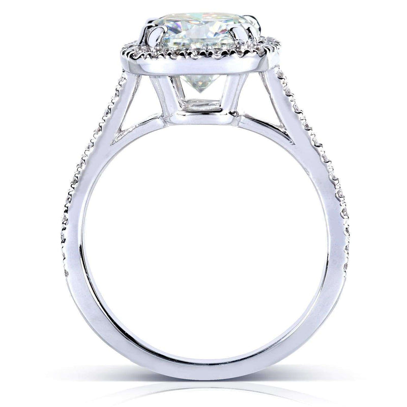 Kobelli 7.5mm Cushion Moissanite Cathedral Halo Ring Platinum (2 1/4 CTW)