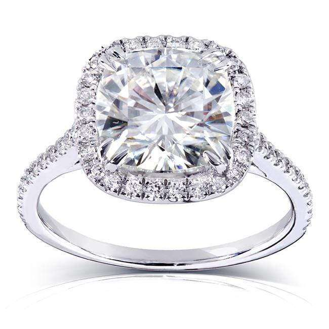 Cheap Cushion-cut Moissanite Engagement Ring with Diamond 3 CTW 14k White Gold (8.5mm) - 9