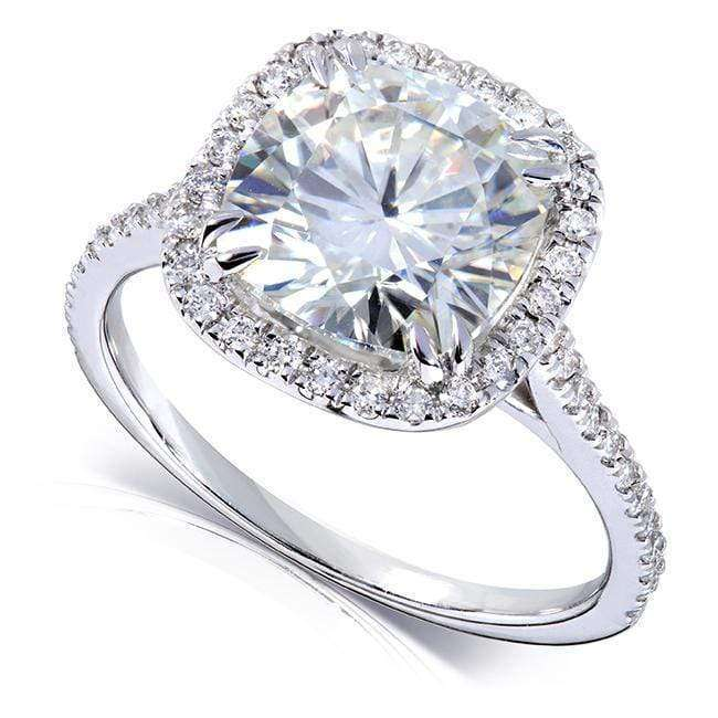Kobelli Near-Colorless (F-G) Moissanite Engagement Ring with Diamond 3 ctw Platinum