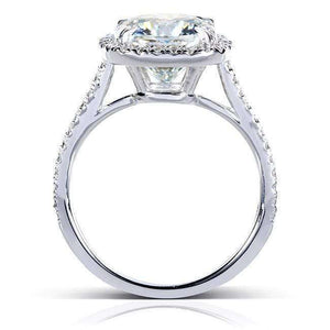 Cushion Forever One 8.5mm Moissanite Halo Ring 14k White Gold (3 CTW)