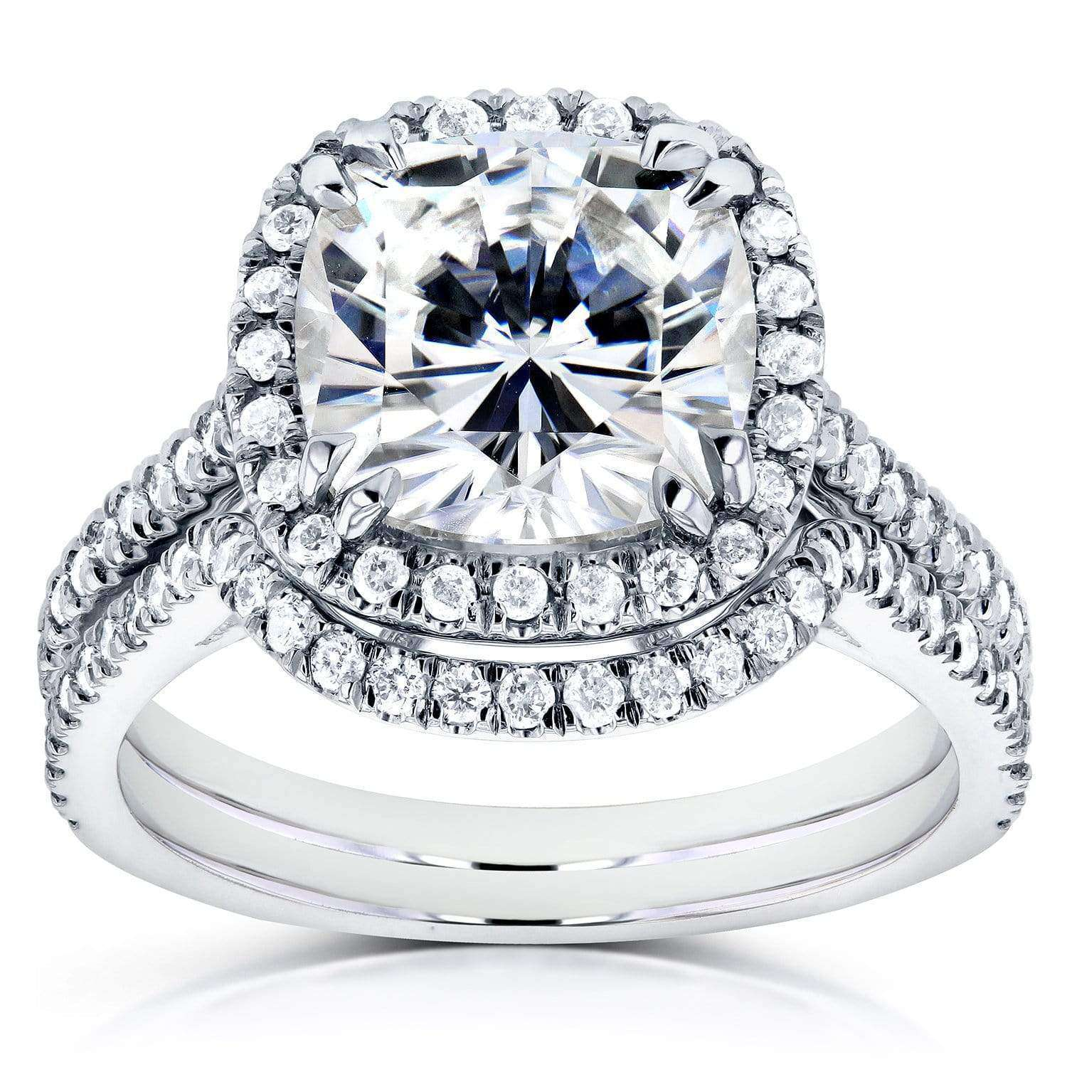 Best Cushion Moissanite Bridal Set with Halo Diamond 3 1/4 CTW 14k White Gold - 6