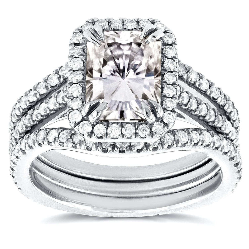 Kobelli Radiant Moissanite and Diamond 3 Piece Bridal Set 2 2/5 CTW in 14k White Gold