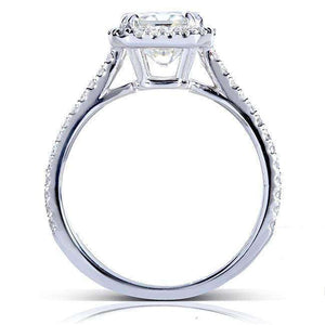 Kobelli Near-Colorless (F-G) Moissanite Engagement Ring with Diamond 2 CTW 14k White Gold (8x6mm)