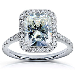 Radiant-cut Moissanite Engagement Ring with Diamond 3 CTW 14k White Gold