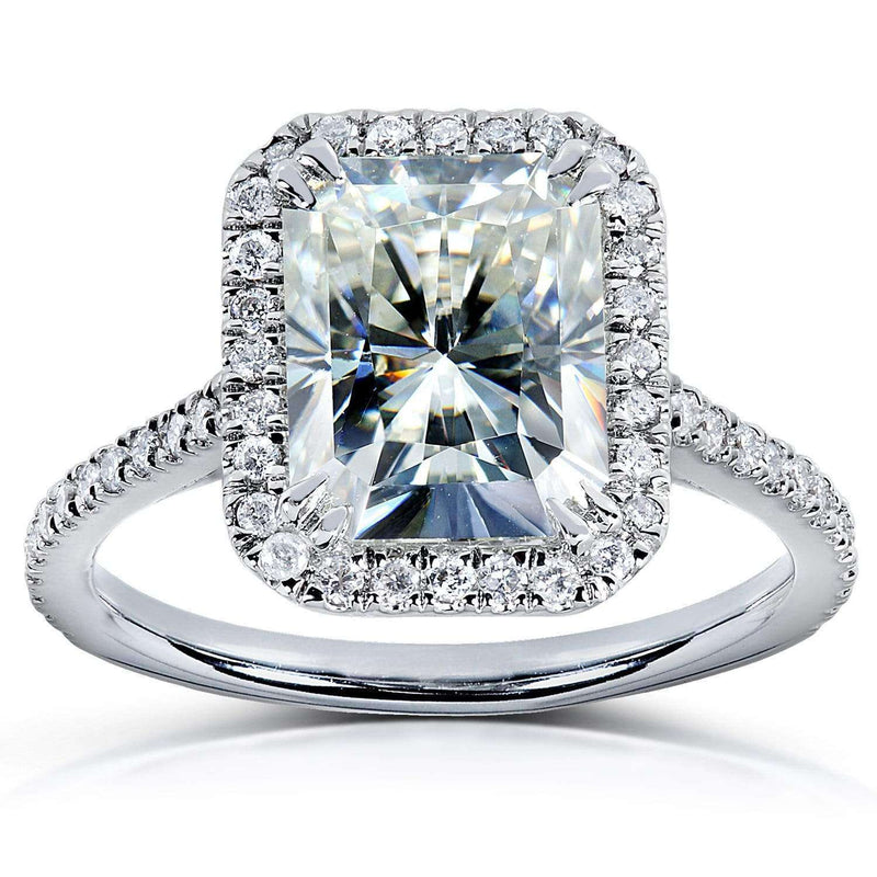 Kobelli Radiant-cut Moissanite & Diamond Engagement Ring 3 Carat (ctw) in Platinum