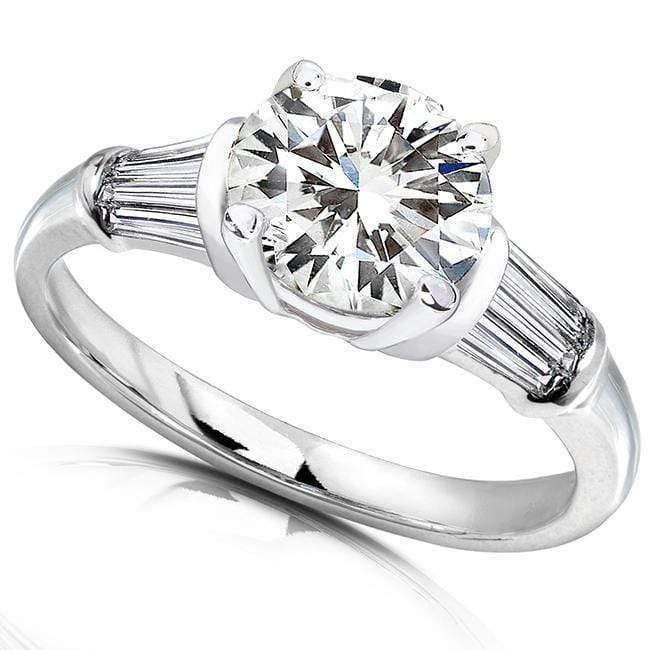Kobelli Round Moissanite Taper Baguette Diamond Engagement Ring 2 Carat TW 14k White Gold