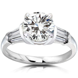 Forever One (D-F) Moissanite Engagement Ring with Diamond 2 CTW 14k White Gold