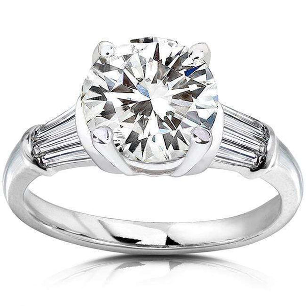 Kobelli Round Moissanite Engagement Ring with Diamond 3 1/4 CTW 14k White Gold