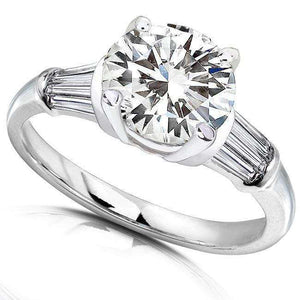 Round Moissanite Engagement Ring with Diamond 3 1/4 CTW 14k White Gold