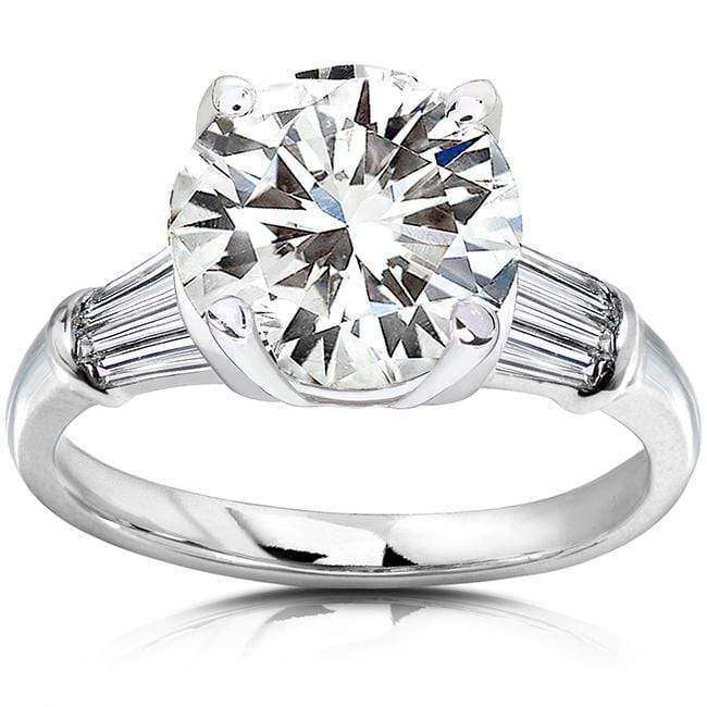 Kobelli Round Moissanite Engagement Ring with Diamond 3 3/4 CTW 14k White Gold