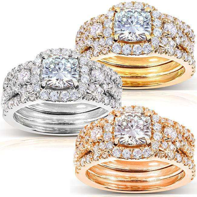 Kobelli Cushion-cut Moissanite Bridal Ring Set 2 1/2 CTW 14k Gold (3 Piece Set)