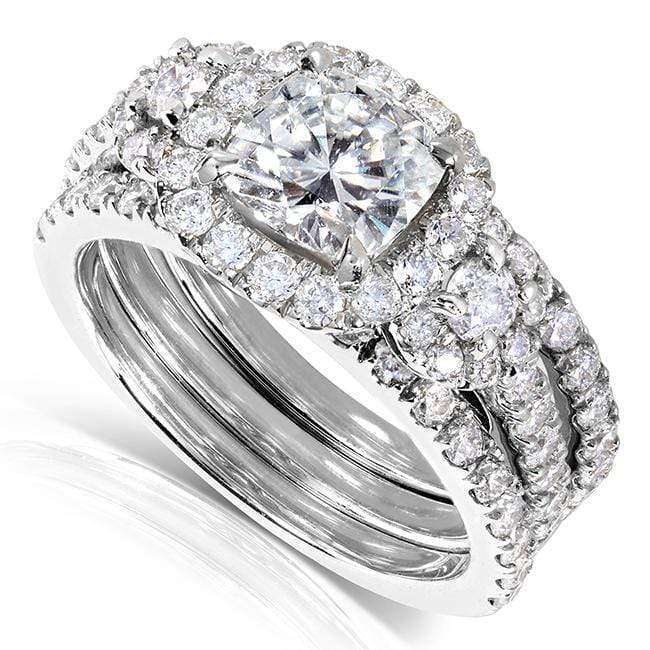 Kobelli Forever One (D-F) Moissanite Bridal Ring Set 2 1/2 CTW 14k White Gold (3 Piece Set)