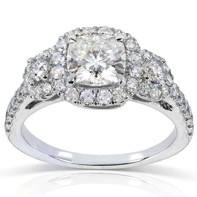 Cheap Forever One (D-F) Moissanite Engagement Ring with Diamond 1 7/8 CTW 14k White Gold - 5