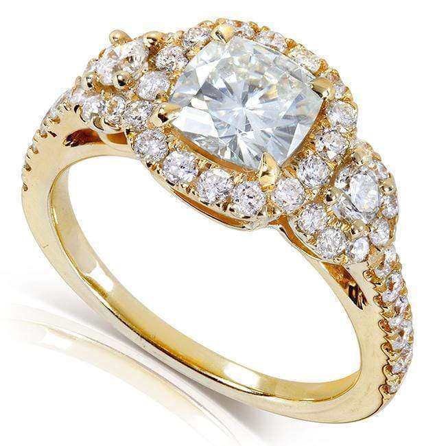 Kobelli Cushion-cut Moissanite Engagement Ring with Diamond 1 7/8 CTW 14k Gold MZ61833CU-E_4.5_YG